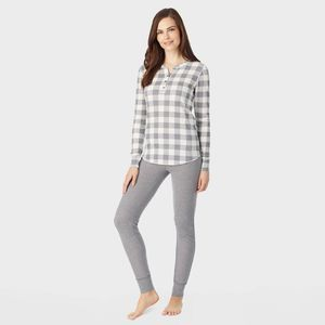 Cuddl Duds Waffle Check Pattern Long Sleeve Top S